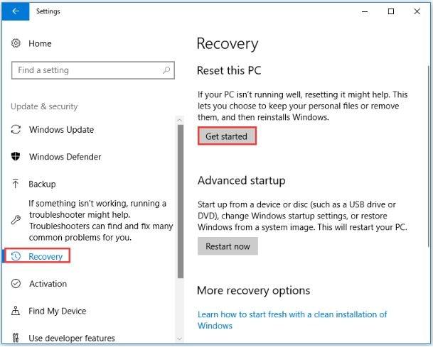 Start Windows Recovery Process