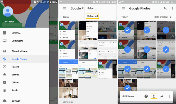 Select images from trash of Google Photos to restore