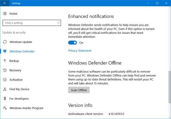 select windows defender option