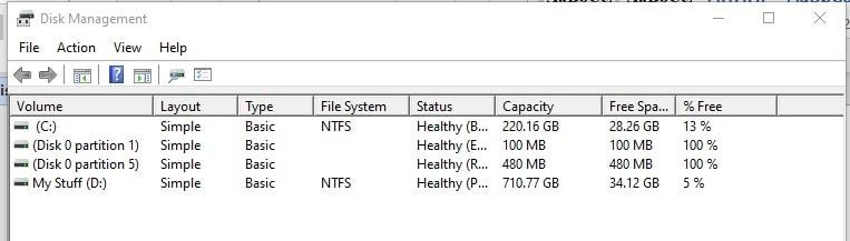 Disk-Management-Schnittstelle, um die nicht zugewiesene Festplatte zu finden