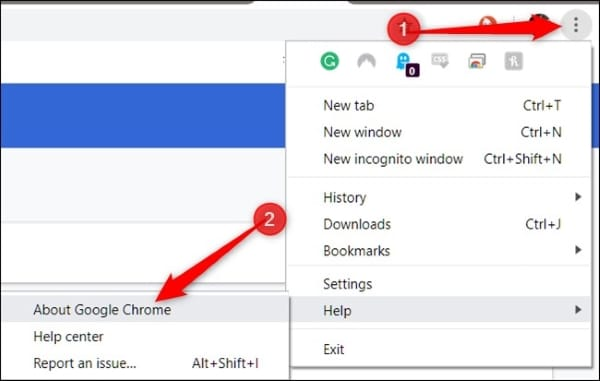 access google chrome about feature