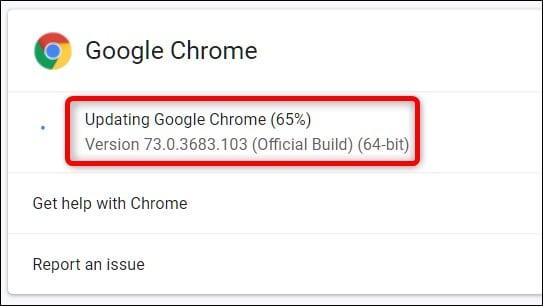 google chrome is updating