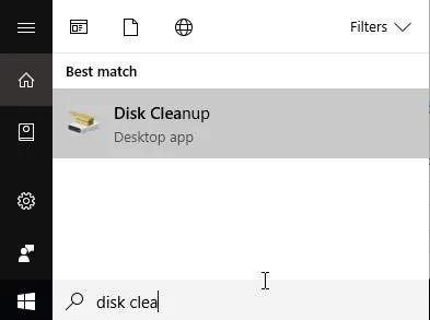 search disk cleanup