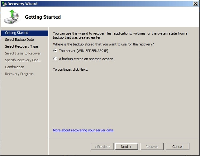backup stored location