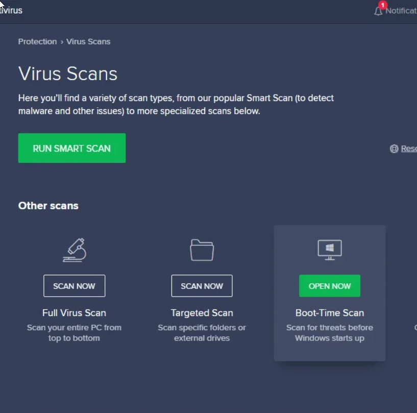 avast interface screen for virus removal