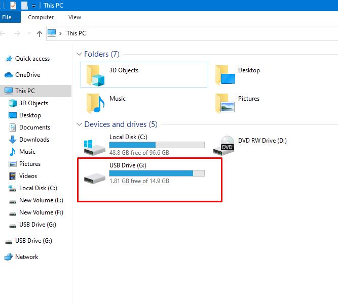 conectar la unidad USB a tu PC