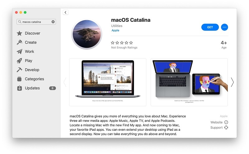 download macOS Catalina on system