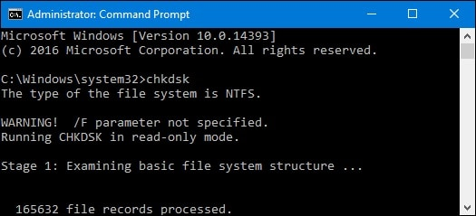 prompt command in chkdsk