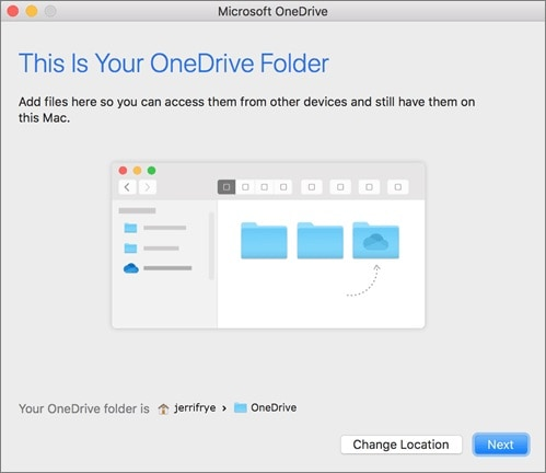 Select OneDrive folder