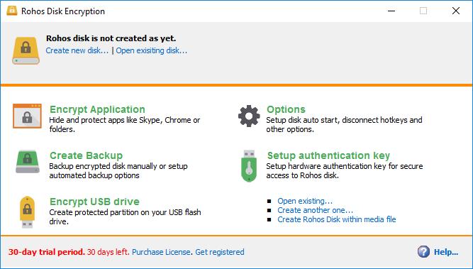 interfaz de rohos disk encryption