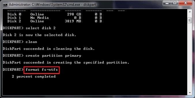 Diskpart Format Disk Command