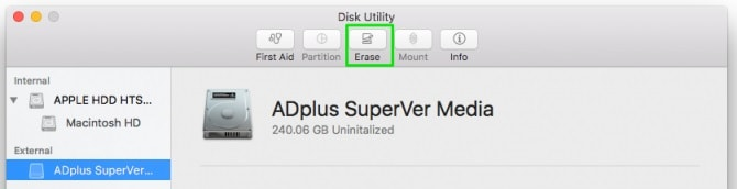 Disk Utility Select Drive