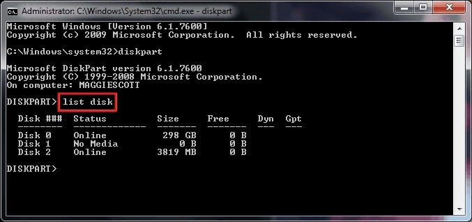 Diskpart List Disk Command
