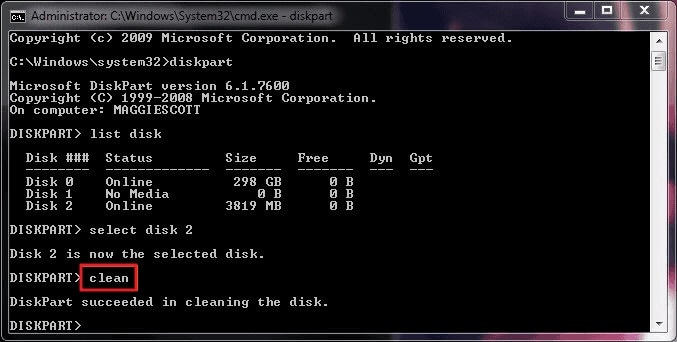Diskpart Clean Command