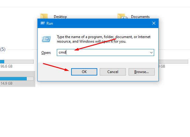 type cmd into the run option