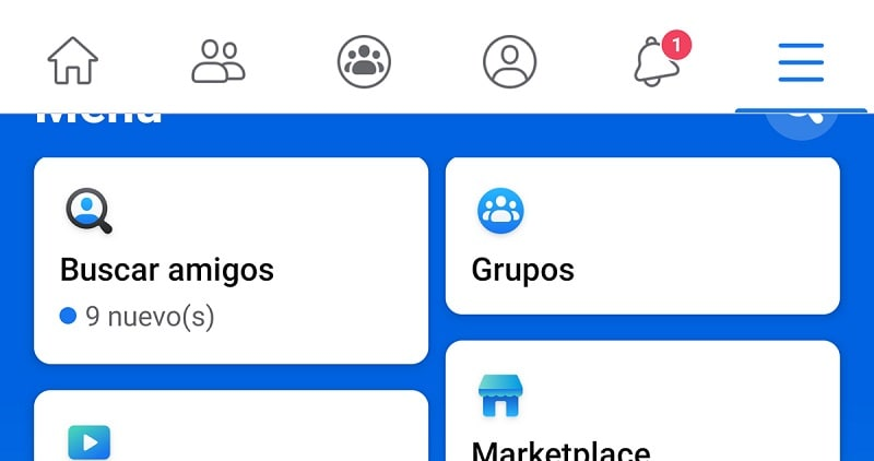 Go to menu on Facebook