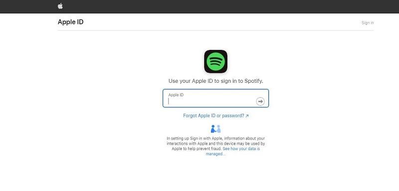 Login Spotify through Apple ID
