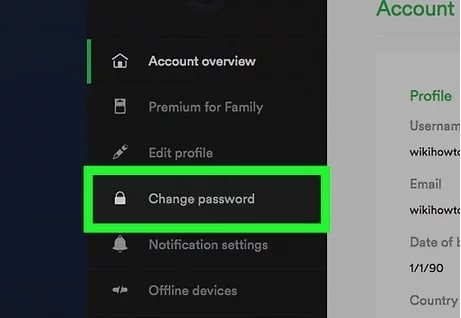 change Spotify password