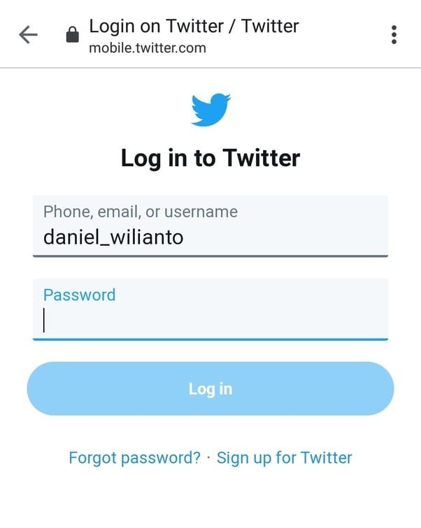 Sign in to Twitter account