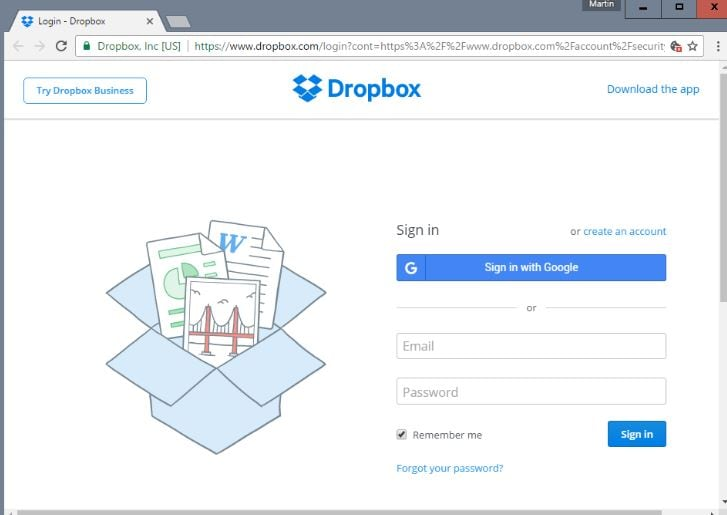 Sign In Dropbox