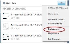 Dropbox Preferences