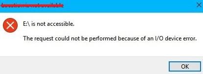 showing io device error