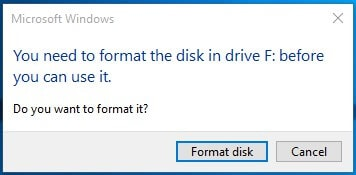 showing raw usb drive error