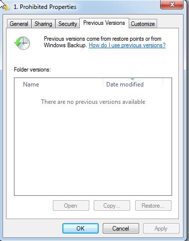 restore previous version tab