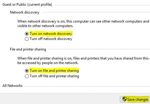 Turn on file and printer sharing option