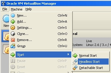 In virtualbox manager go to headless start