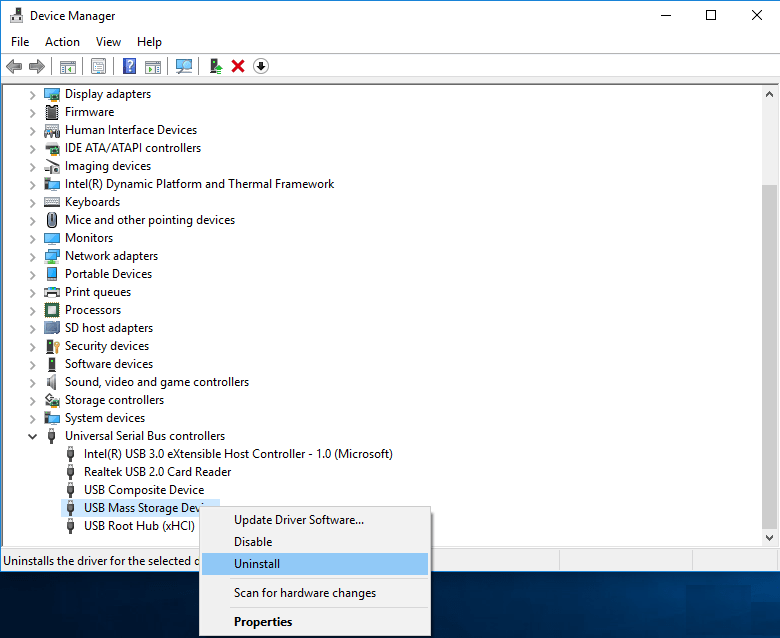 uninstalling usb mass storage from device manager