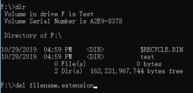 using del command to delete autorun file