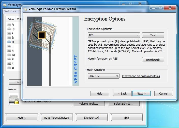 interfaz de vercrypt disk encryption