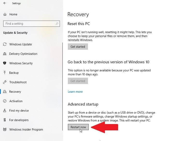 Windows Advanced Startup