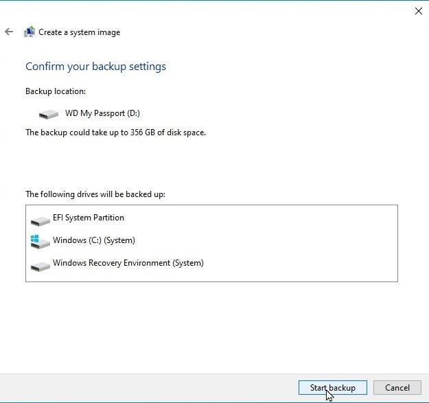 Select Windows Drive to Backup