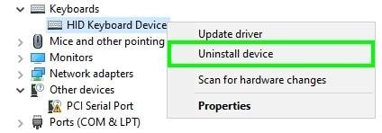 uninstall the keyboard drivers