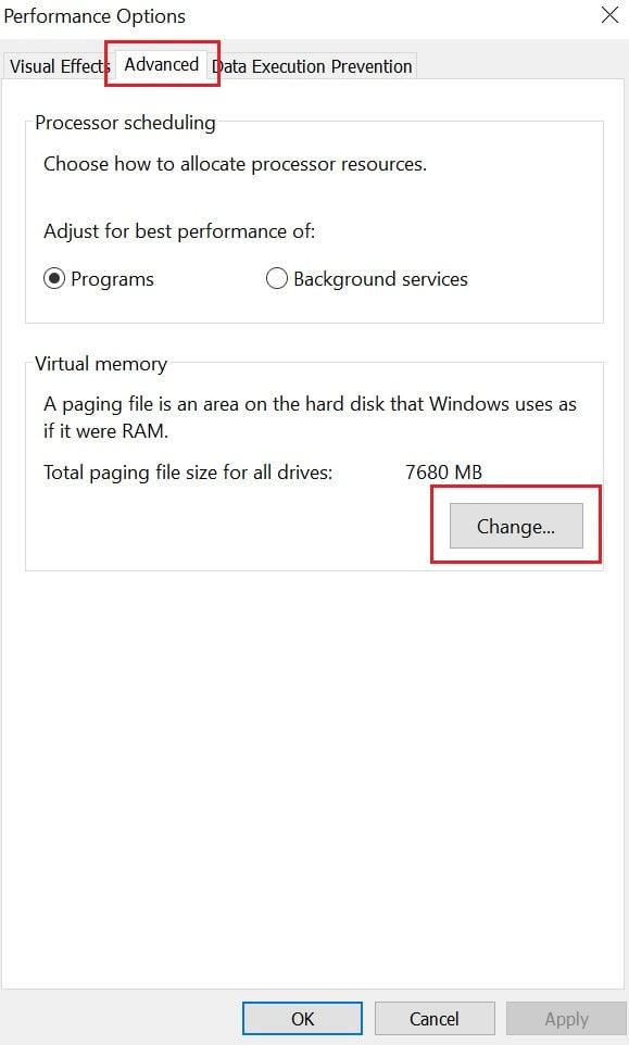 change-virtual-memory