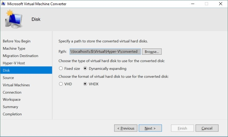 specify the path for storing converted virtual hard disks