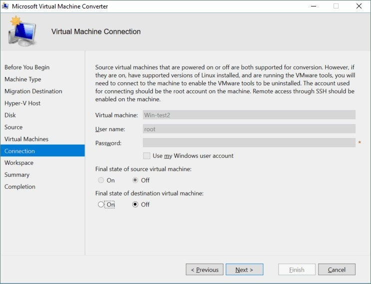 determine the final state of virtual machines