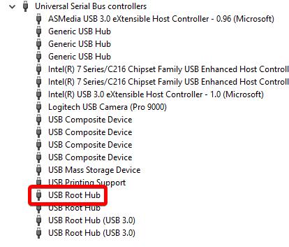 administrador de dispositivos concentrador raíz del menú de los controladores usb