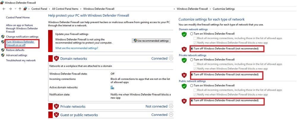 disable firewall and antivirus program