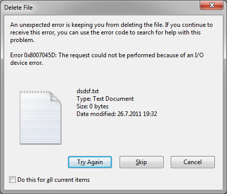 unexpected error 0x8007045d