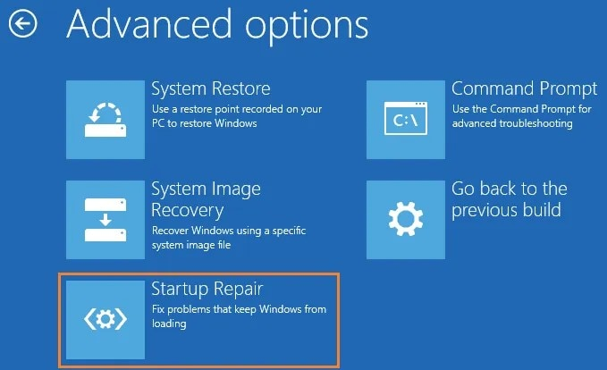 access  the startup repair feature
