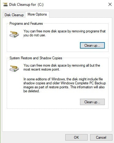 clean  up your system restore and shadow copies