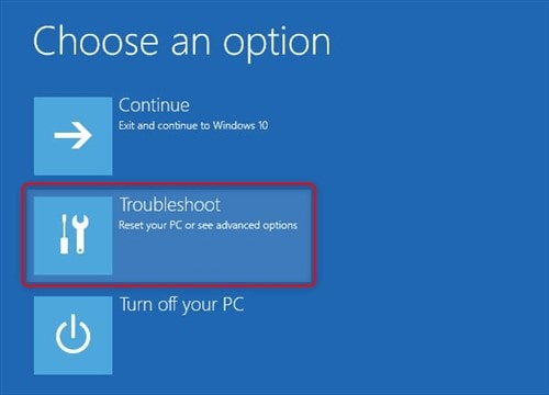 tap on  troubleshoot option
