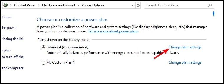 tap on  change power plan settings