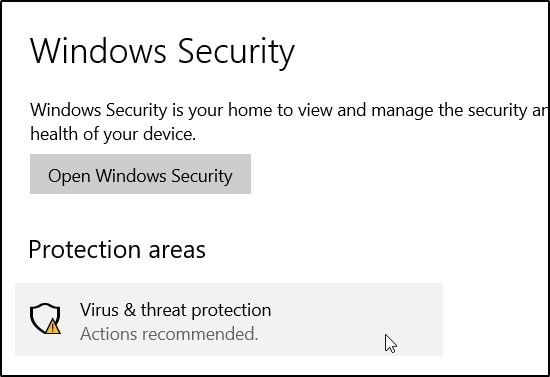access  virus and threat protection feature