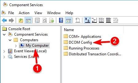 select dcom config  option