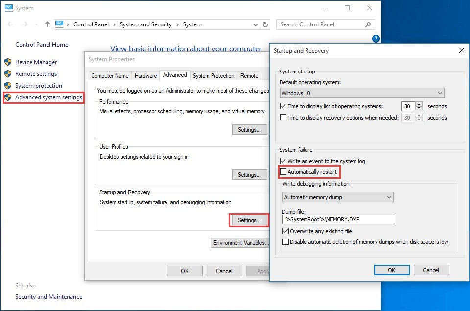 disable automatically restarts