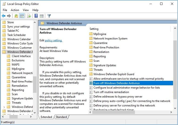 open  turn off windows defender antivirus
